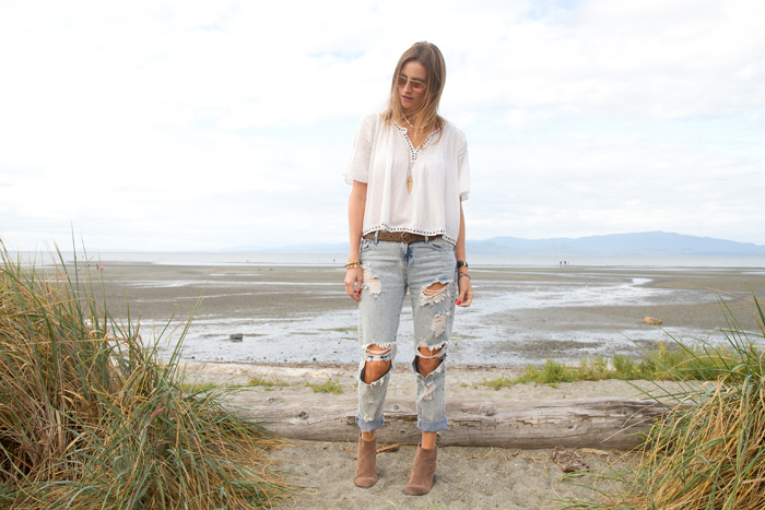 Vancouver Fashion Blogger, Alison Hutchinson, is wearing a Denim & Supply Ralph Lauren Top, One Teaspoon Jeans, Vince Camuto Tan suede booties, Rayban Aviators
