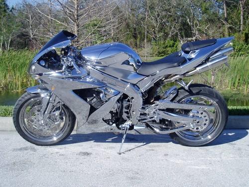 chrome yamaha r1 motorcycle paint bike motorbike crotch rocket custom chromed painted silver