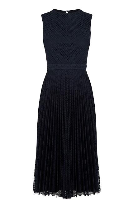 warehouse black pleated dress, black pleated midi dress,