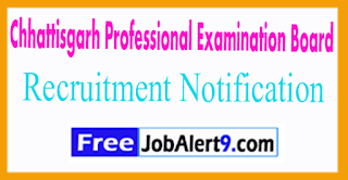 Chhattisgarh Professional Examination Board Recruitment Notification 2017 Last date 24-07-2017
