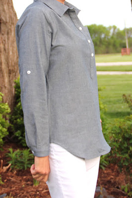 Itch to Stitch Mila Shirt from Indiesew made in Style Maker Fabrics chambray- side view