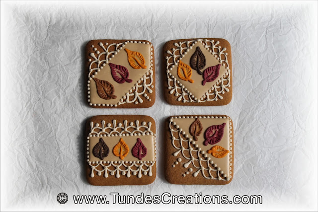 Square cookies with lace and leaves by Tunde Dugantsi