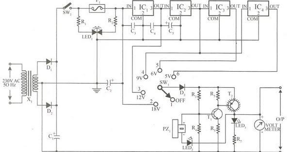 circuit diagram stabilized power supply with short