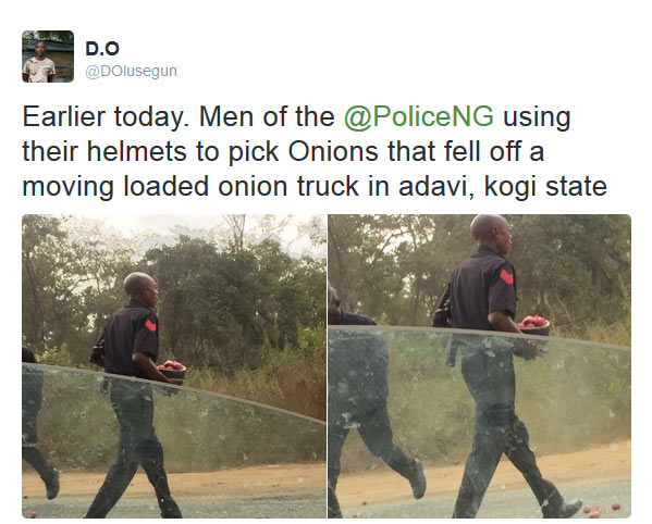 Recession: Nigerian policemen spotted picking onions that fell from moving truck