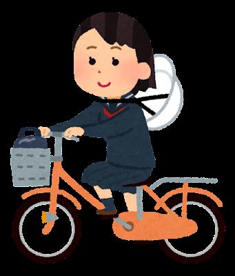 ヘルメットを首にかけて自転車通学する学生のイラスト(女子)