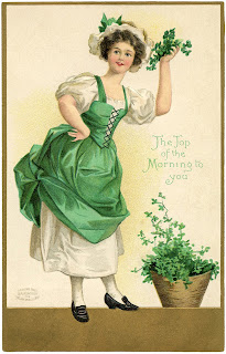 """The Top of the Morning to you."" Irish maid with shamrocks. Old postcard image from http://thegraphicsfairy.com"