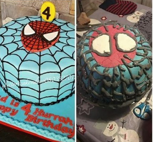 The Spiderman cake woman requested vs what she got