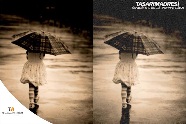 Yağmur efekt psd, yağmur actions indir