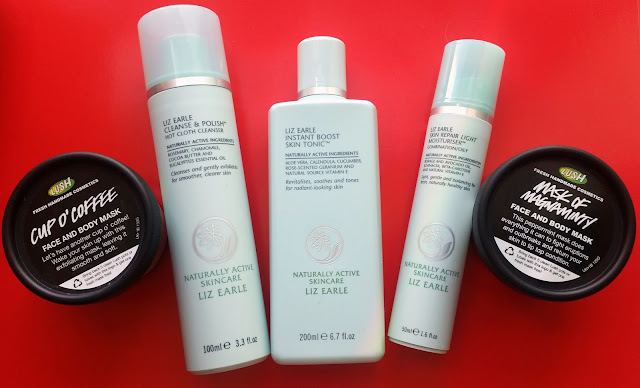 Liz Earle skincare range, with two pots of Lush face masks on a red background