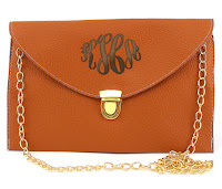 White Background Image of Brown Luxe Clutch with Initials