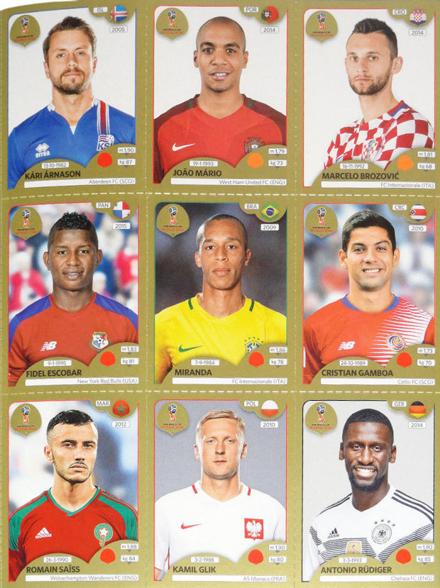 Panini - FIFA World Cup Russia 2018 Sticker Collection (26) - 9-sticker  sheet - Gold df86405830a4
