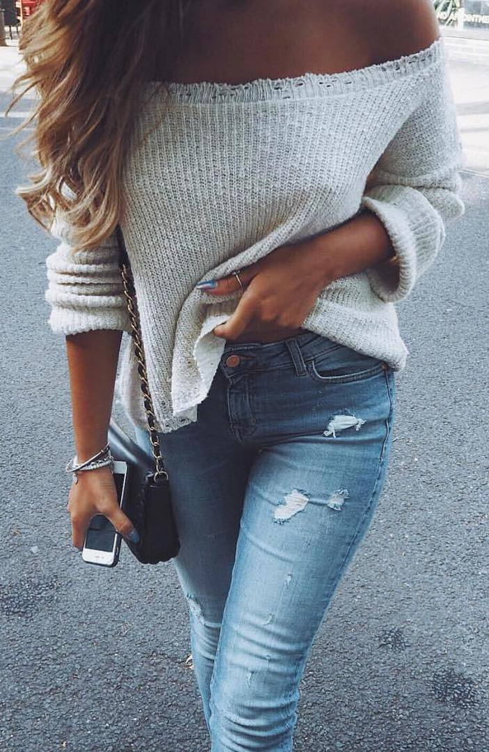 cool outfit: off shoulder knit + jeans