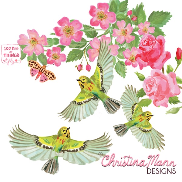 Prairie Warbler flock in Roses. Gouache by Christina Mann Designs