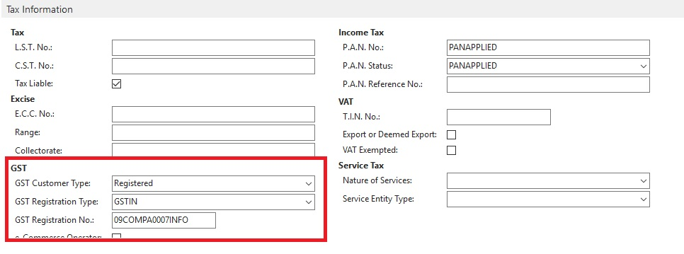nav item charge application entries