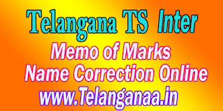 Telangana TS Intermediate Marks Memo Name Correction Online