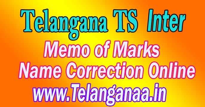 Telangana TS Intermediate Marks Memo Name Correction OnlineGovt ...
