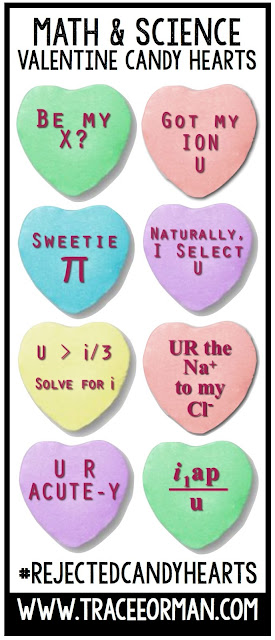 Valentine's Day Math Science Candy Hearts www.traceeorman.com