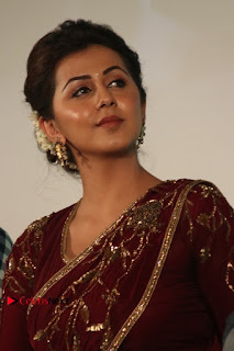 South Indian Actress Nikki Galrani Stills in Red Designer Saree at Maragadha Naanayam Tamil Movie Audio Launch  0001.jpg