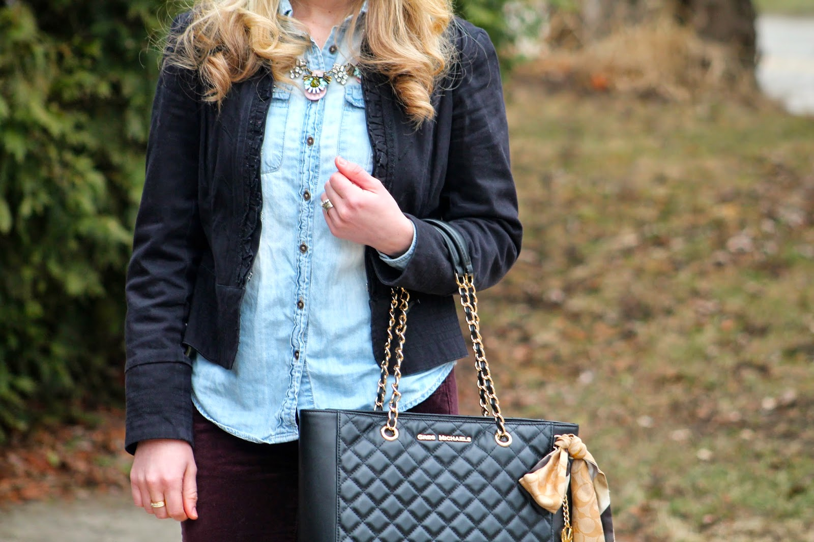 chambray, black blazer, burgundy pants, tory burch flats, greg michaels quilted bag