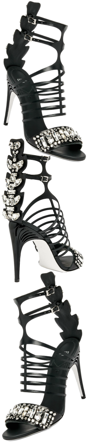 Fendi Crystal Crocodile & Leather Cage Sandals