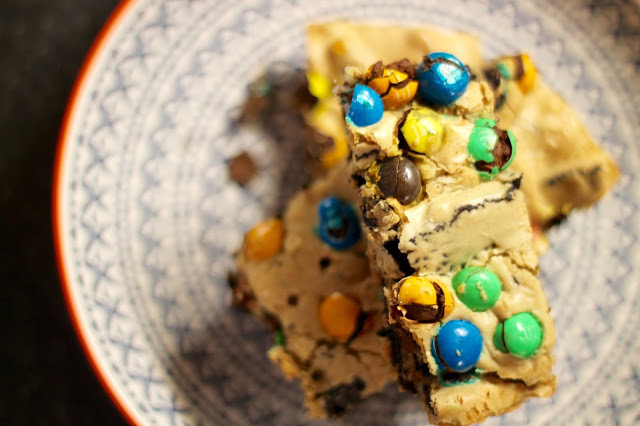 Stuffed Blondie Bars with Oreos and M&Ms