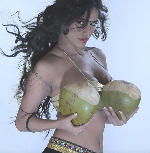 poonam pandey very hot with two coconuts IndiBabes