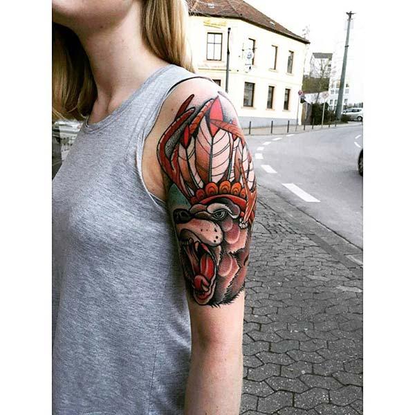 native american bear tattoo woman arm