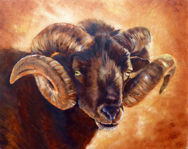 Oil painting of a Hebridean ram