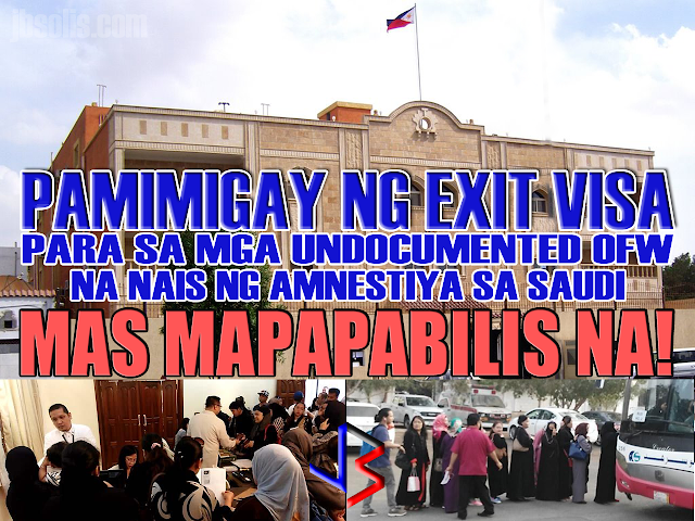 """Consulate vows faster issuance of exit visas for undocumented Pinoys availing Saudi amnesty JEDDAH – The Philippine Consulate General here has been allowed by Saudi authorities to endorse undocumented Filipinos for deportation three times a week instead of only one. Saudi immigration officials made the decision to expedite the issuance of exit visas for Filipinos taking advantage of the amnesty given to illegally staying foreigners in the Kingdom. """"Sa ngayon binigyan tayo ng tatlong araw sa isang linggo ng immigration officials sa Shumaisi at kinukumpirma pa natin kung kailan at ilan ang pwede nating dalhin sa deportation,"""" said Consul RJ Sumague. Sumague said some 4,000 Filipinos have already applied for the amnesty since it started on March 29, but only about 500 of them have been issued exit visas so far. The amnesty period will last for 90 days or three months. Sumague said some applications were rejected after it was discovered that the applicant has a pending case with the police while others have no records whatsoever. On Tuesday, the Consulate endorsed some 400 undocumented Filipinos, some of them with children who will undergo DNA test. A DNA test is required for parents with children to ensure that they are related, Sumague said."""