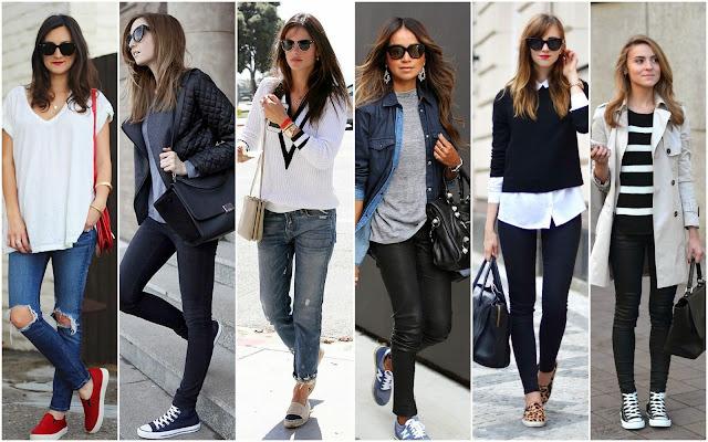 Dicas para Organizar mala de viagem. Mulheres usando looks versáteis para viagens, composto de calça jeans, t-shirts e tênis.