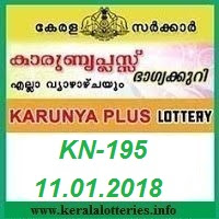 KARUNYA PLUS (KN-195) LOTTERY RESULT ON JANUARY 11, 2018