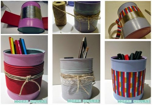 Latas decoradas con washi tape, cuerda, cinta de blonda y cartulina