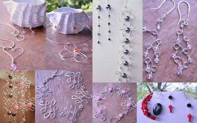 Wire work: sterling silver, Swarovski crystals, pearls, jade, gemstones: necklaces, pendant, bracelet, earrings :: All Pretty Things
