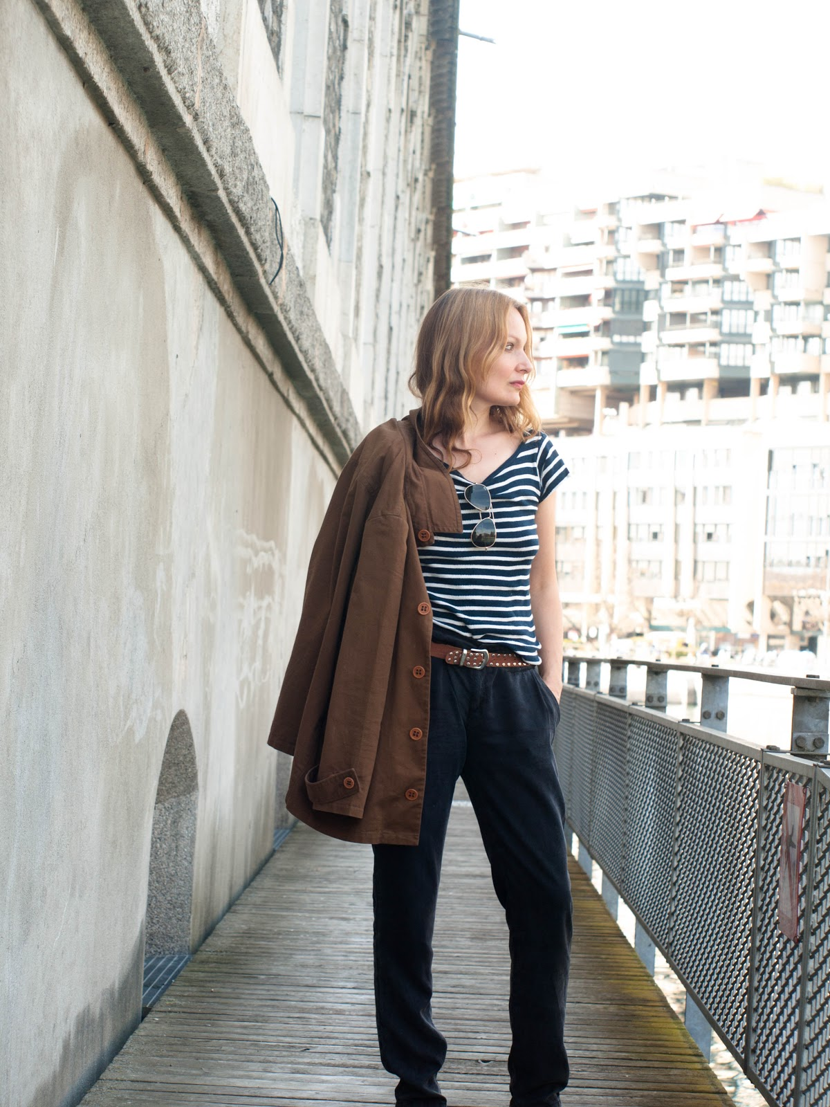 Breton t-shirt, brown coat, A.P.C. coat, Maje pants, topshop sandals, mixing brown and black