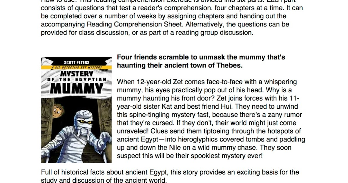 Mystery Of The Egyptian MUMMY Reading Comprehension