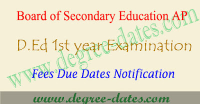AP d.ed 1st year exam fees structure 2017 fee last date & time table