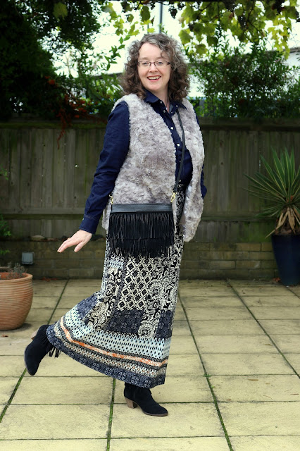 How to style your maxi skirt for Autumn, Denim Shirt, Faux Fur Gilet | Petite Silver Vixen