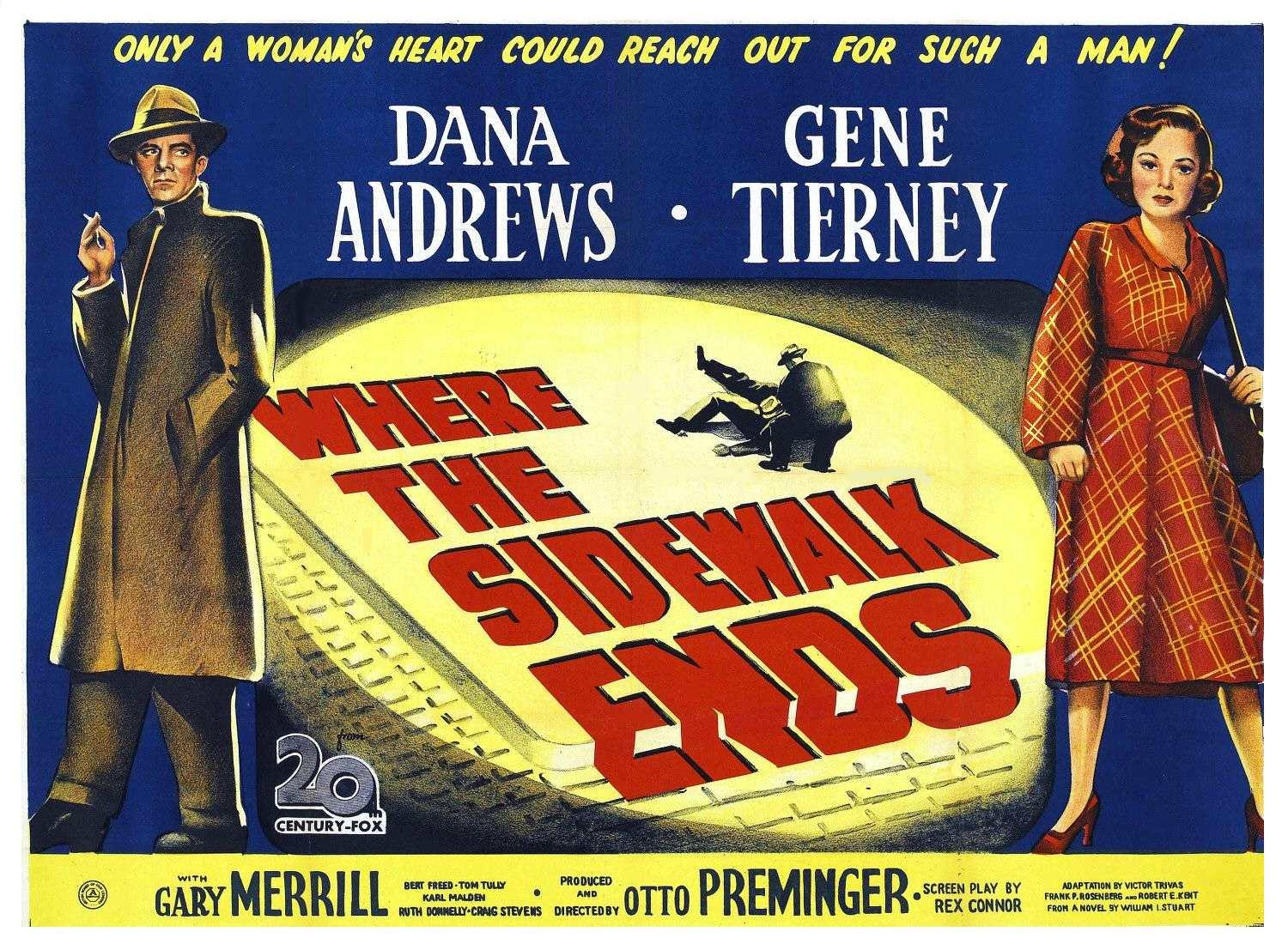 Where The Sidewalk Ends Movie Film Noir Board: WHERE...