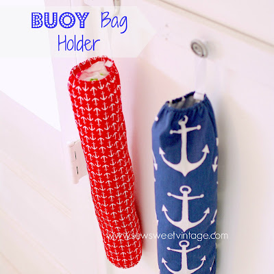 make a beachy buoy style bag holder with anchor fabric and elastic