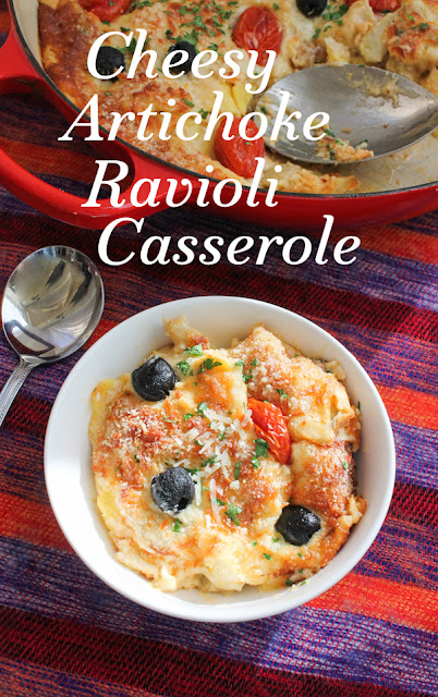 Food Lust People Love: This cheesy artichoke ravioli casserole is made from store-bought fresh ravioli with a super cheesy homemade artichoke sauce, baked up till hot and bubbly with extra cheese on top.