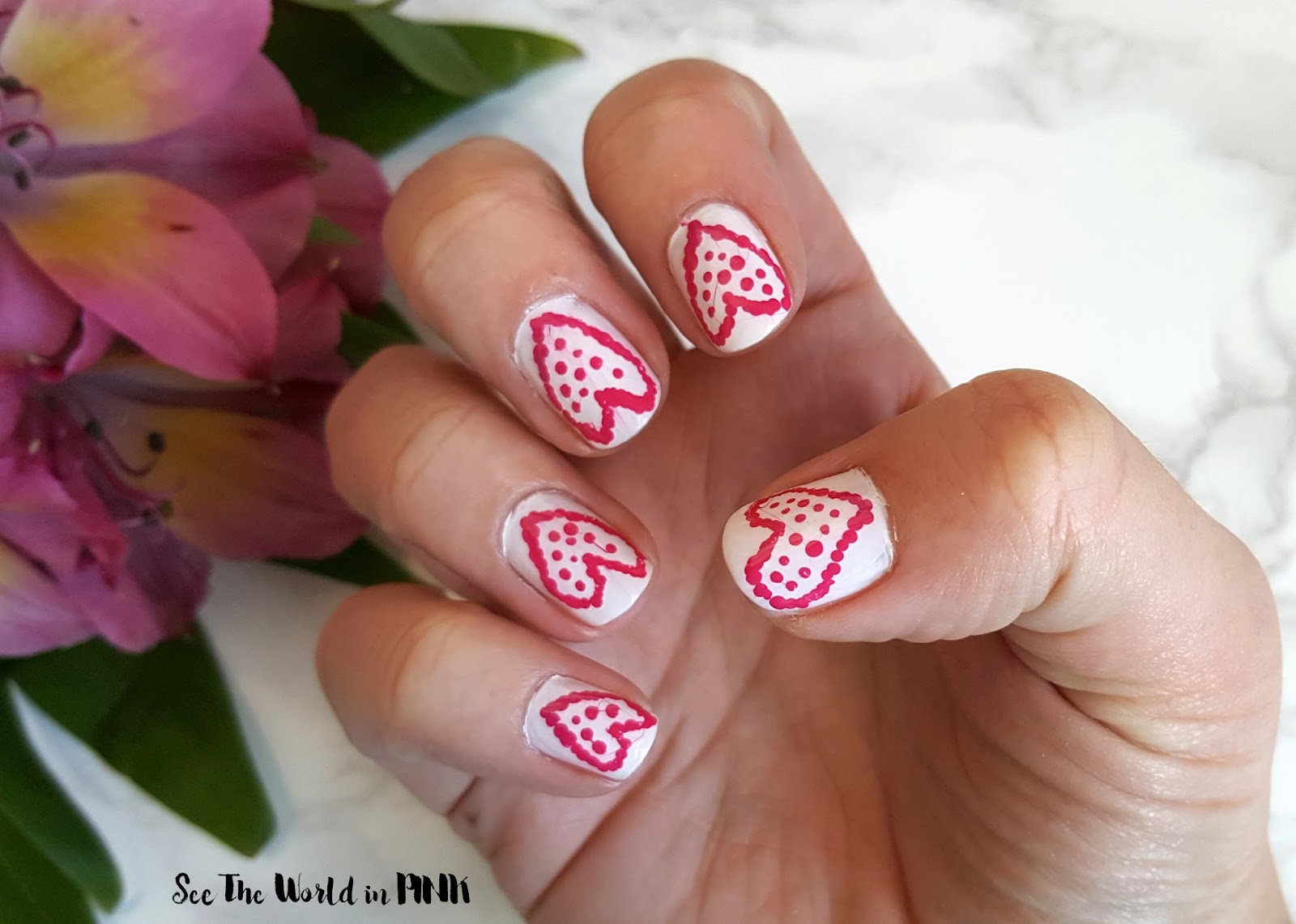 Manicure Monday - Polka Dot Heart Nail Art | See the World in PINK