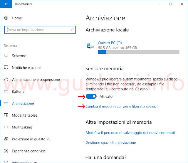 Windows 10 Impostazioni archiviazione Sensore memoria