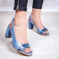 Sandale cu toc dama Piele albastre