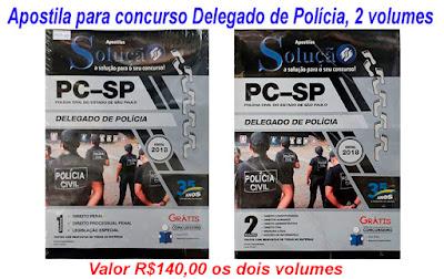 Compre sua apostila para o concurso de Delegado de Polícia, 2 volumes valor R$140,00 na Banca Vanildo.