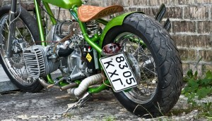 a view on a custom cossack bobber from behind