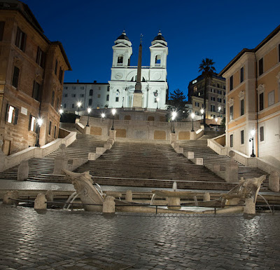 Trinità dei Monti church, spanish steps and Spain square
