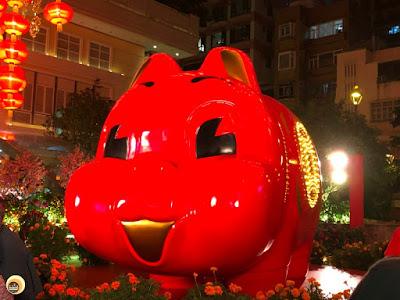 2019 Year Of Pig , sculpture at Lee Tung  Avenue, Wan chai Hong Kong