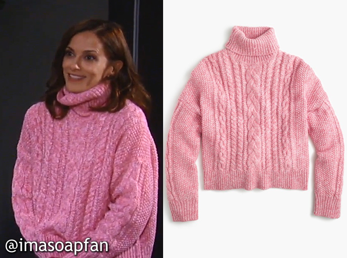 711c17221c958a Hayden Barnes s Pink Cable Turtleneck Sweater - General Hospital ...