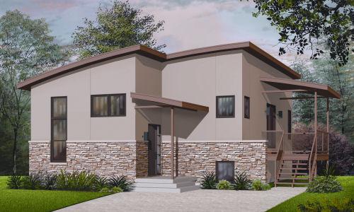 Dise o de casa habitaci n de un nivel con dormitorio y for Diseno de casa de 9 x 12