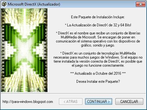Actualizar Microsoft DirectX 9.0c 10.0 10.1 11.0 11.1 11.2 12 Windows Multimedia vídeo juegos animación 3D audio API texturas sombreados gráficos conjunto de librerías joysticks reproducción de música sonido Soporte Multithreading Direct3D Direct Graphics DirectInput DirectPlay DirectSound DirectMusic DirectShow DirectSetup DirectCompute DirectX System Error DxError.log DirectX.log d3dx9_35.dll DLL's D3DX9_24.DLL D3DX9_43.DLL D3DX10.DLL D3DX10_43.DLL D3DCompiler_33.DLL D3DCompiler_43.DLL D3DX11_42.DLL D3DX11_43.DLL D3DCSX_42.DLL D3DCSX_43.DLL XACTENGINE2_0.DLL XACTENGINE2_9.DLL XACTENGINE3_0.DLL XACTENGINE3_7.DLL XAUDIO2_0.DLL XAUDIO2_1.DLL XAUDIO2_2.DLL XAUDIO2_3.DLL XAUDIO2_4.DLL XAUDIO2_5.DLL XAUDIO2_6.DLL XAUDIO2_7.DLL XAPOFX1_0.DLL XAPOFX1_5.DLL X3DAUDIO1_0.DLL X3DAUDIO1_7.DLL XINPUT1_1.DLL XINPUT1_2.DLL XINPUT1_3.DLL